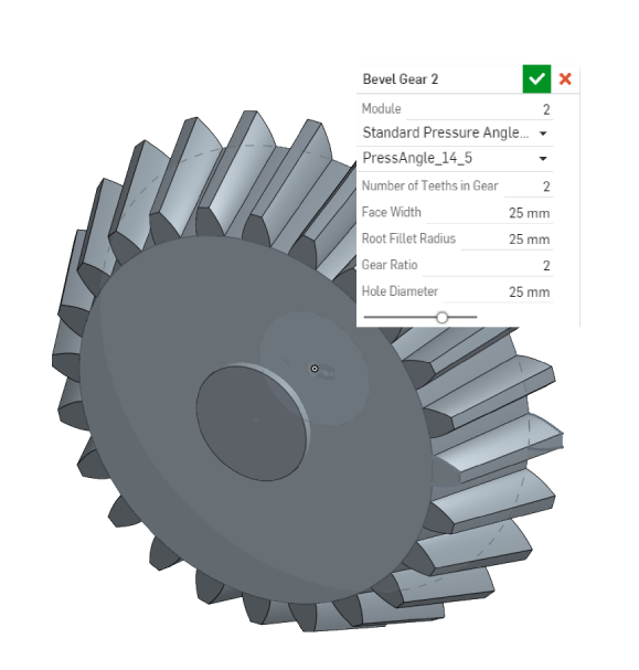 Creating bevel gear with Onshape FeatureScript